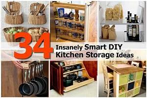 34 insanely smart diy kitchen storage ideas for Diy kitchen ideas