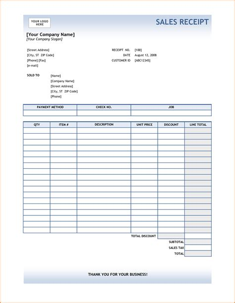 Receipt Template 4 Excel Receipt Template Authorizationletters Org