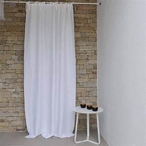 Rideau En Lin Blanc : rideau lin blanc bourdon noir maison d 39 t ~ Melissatoandfro.com Idées de Décoration