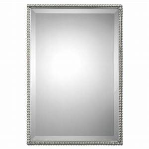 Brushed Nickel Sherise Rectangle Mirror Uttermost Wall