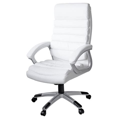 padded office chair in white faux leather with wheels