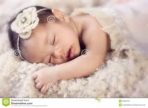 Mixed Newborn Baby Girl Sleeping