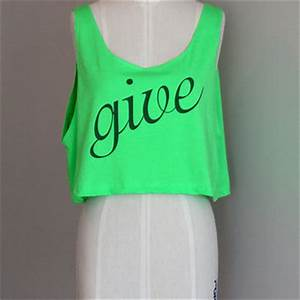 Give Neon Green Crop Top Tank from KindLabel on Etsy