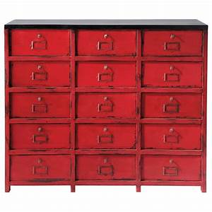 cabinet de rangement en metal rouge l 115 cm vermillon With maison du monde cabinet