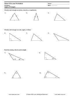 Geometry Worksheet Answers Worksheet Triangle Angle Sum Theorem Classifying Triangles Geometry Printable