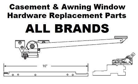 andersen casement window silver satin   arm sill mounted casement crank operators