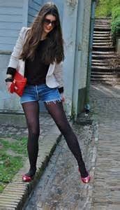 Jean Shorts with Tights and Flats