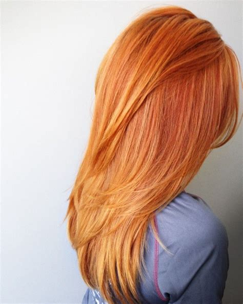 Red Orange Hair Color With Long Layers And Fav Products