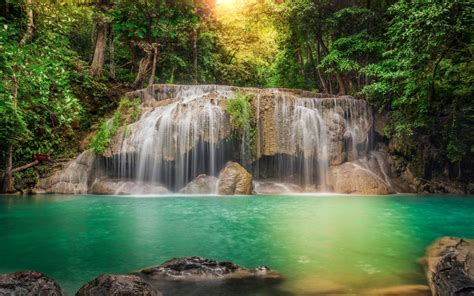 thailand stream cascade rocks jungles waterfalls forest