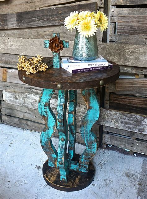 turquoise side table loco side table rustic furniture rounding and 2971