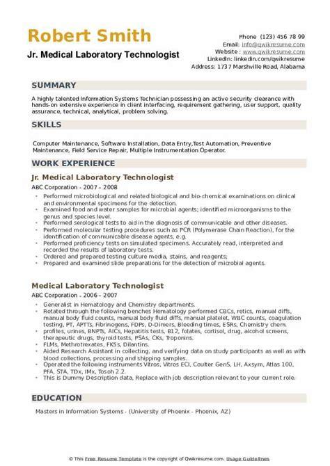 medical laboratory technologist resume samples qwikresume