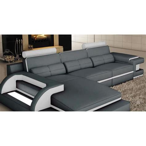 canap 201 d angle cuir gris et blanc design avec lumi 200 re ibiza angle gauche achat vente canape