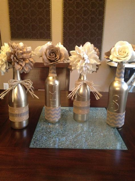 Glass Candle Holders Wrapped Sandwich Paper Raffia Ribbons by Painted Empty Wine Bottles Covered With Burlap Ribbon