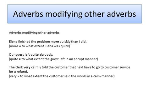 Modified Adjectives And Adverbs by Modify Verbs Adjectives And Other Adverbs Ppt