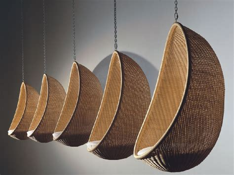 egg chair hanging from ceiling