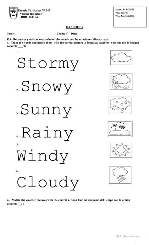 weather 1st grade worksheet free esl printable worksheets made by teachers