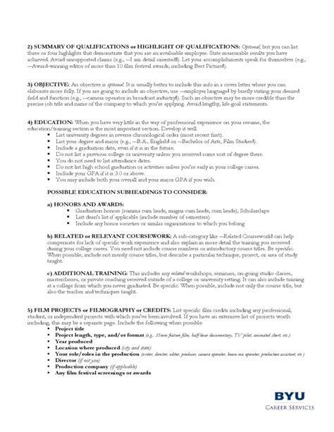 Guidelines For A Resume by Guidelines For A Filmmaker S Resume Free