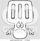 Depressed Mascot Spatula Outlined Coloring Clipart Cartoon Vector Thoman Cory sketch template