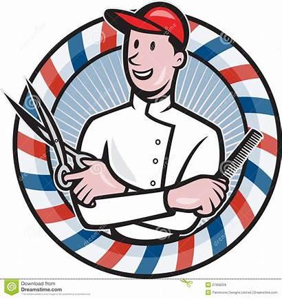Barber Scissors Comb Cartoon Barbers Pole Holding