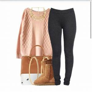 Leggings warm boots bag pale polyvore ootd sweater sweater weather earrings pretty ...