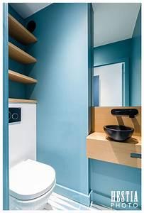 Commode Bleu Canard : am nagement toilettes wc suspendu mur bleu canard et vasque noire avec plan en bois ~ Teatrodelosmanantiales.com Idées de Décoration