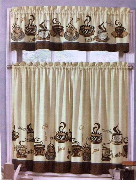 Cafe Java Latte Zebra Animal Print Tiers & Valance Set