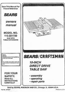 Craftsman 113221720 User Manual Table Saw Manuals And
