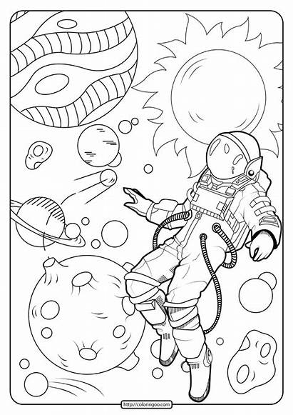 Coloring Space Astronaut Printable Pdf
