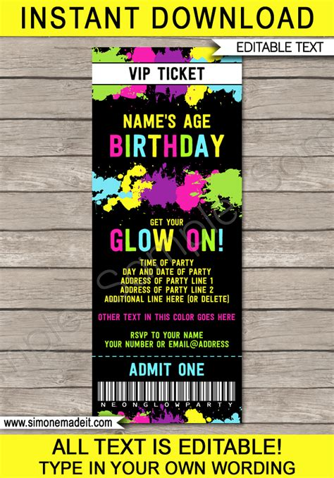Neon Glow Party Ticket Invitation Template Editable