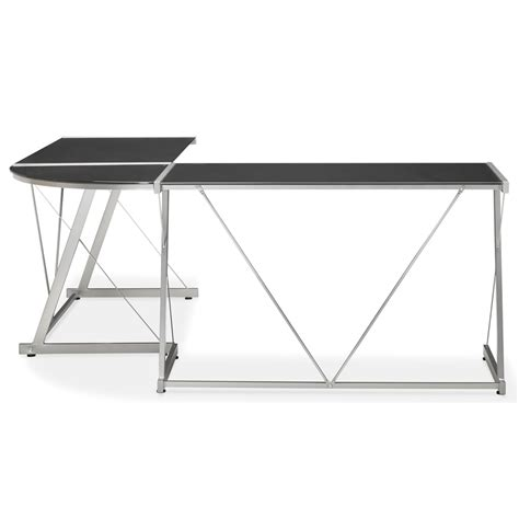 bureau angle noir grand bureau d 39 angle bureau design en verre noir