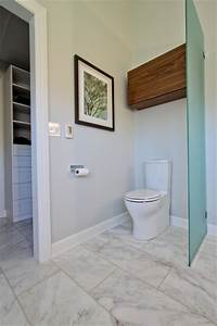 Glass Partition Toilet Area, With Walnut Storage Cabinet