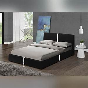 Lit Moderne Design : lit design noir ulysse 160 cm mod le moderne et top confort achat vente structure de lit ~ Nature-et-papiers.com Idées de Décoration