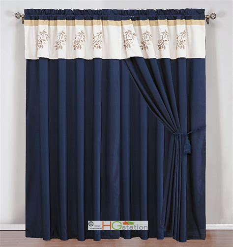 4 sea leaves embroidery curtain set ivory navy blue