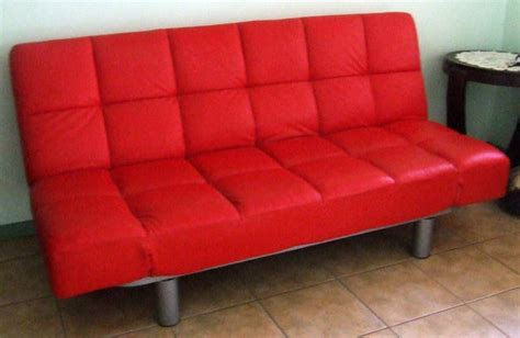 sale red leather klick klack fold  sofa bed