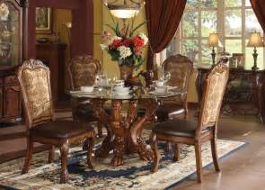 acme dresden 5 pc round dining table set in cherry by