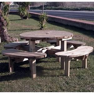 Table Ronde Exterieure : table pique nique ronde ext rieure en bois autoclave ~ Teatrodelosmanantiales.com Idées de Décoration