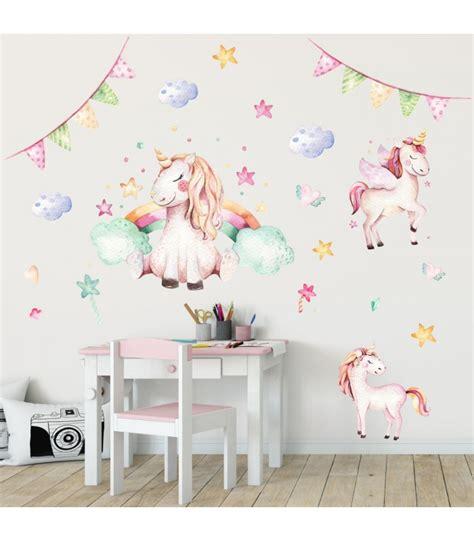 Kinderzimmer Mädchen Einhorn by 074 Wandtattoo Einhorn Pastell Regenbogen Kinderzimmer