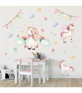 Kinderzimmer Baby Mädchen : 074 wandtattoo einhorn pastell regenbogen kinderzimmer baby ~ Sanjose-hotels-ca.com Haus und Dekorationen