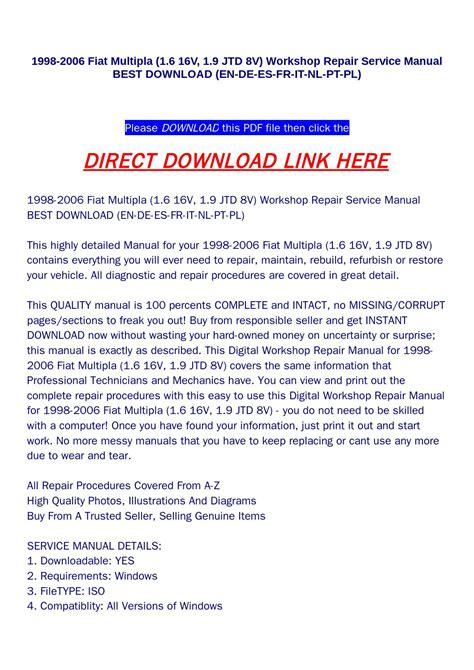service repair manual free download 2006 saab 42133 windshield wipe control 1998 2006 fiat multipla 1 6 16v 1 9 jtd 8v workshop repair service manual best download en