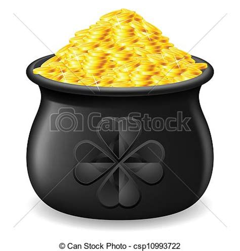 vector illustration of pot of gold coin black pot of gold coin csp10993722