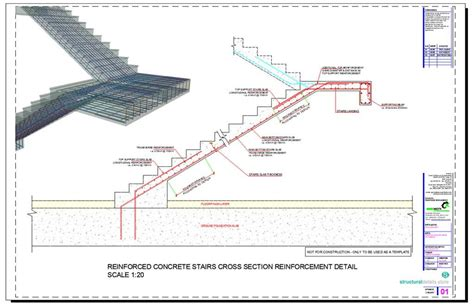 reinforced concrete stairs cross section reinforcement detail concrete stairs