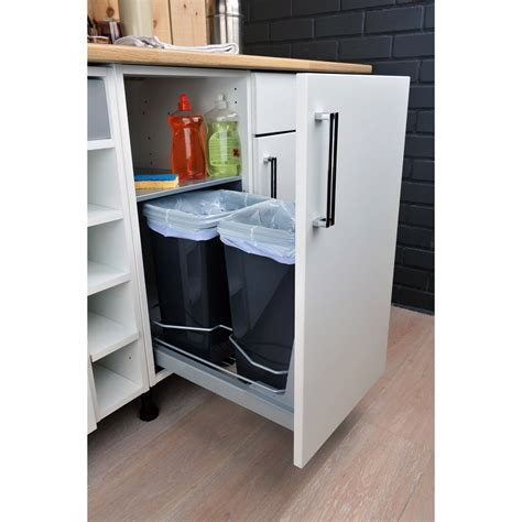 meuble de cuisine coulissant rangement coulissant 2 poubelles pour meuble l 40 cm