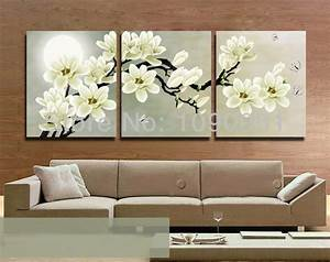 hand painted flower painting canvas 3 piece wall decor With cheap wall decor