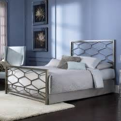 queen size modern metal bed frame with headboard and