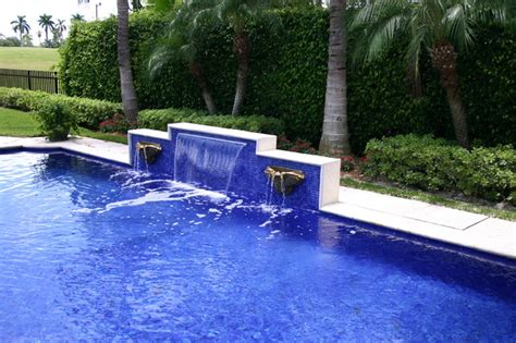 glass tile waterfall eclectic pool miami