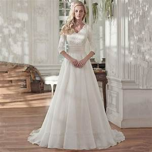 2016 muslim bride dress modest lace 3 4 sleeves v neck With modest wedding dresses with 3 4 sleeves