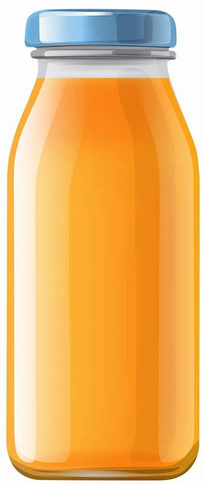 Juice Bottle Orange Clipart Bottles Transparent Clip