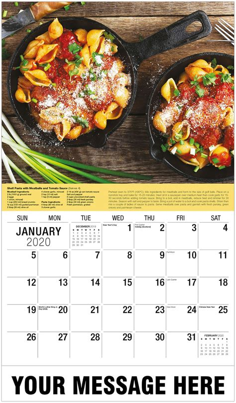 recipes promotional calendar wall calendars business advertising