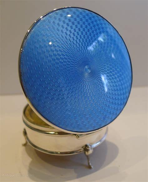 antiques atlas silver blue guilloche enamel jewellery box