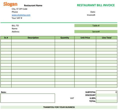 invoice template restaurant   secrets